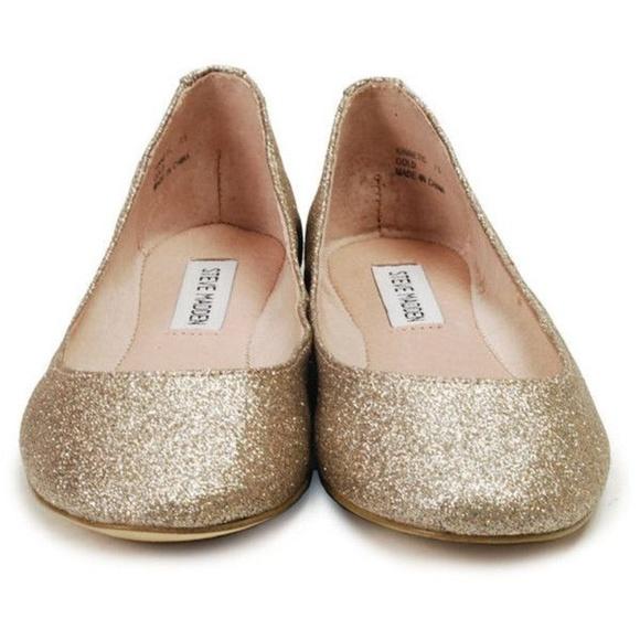 0c1acb58e4d STEVE MADDEN P-HEAVEN Gold Glitter Ballet Flats NWT